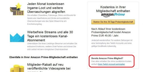 Amazon Prime mit Twitch Prime